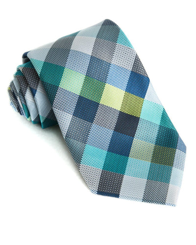 Navy & Lime Check Standard Necktie (Adult and Youth)