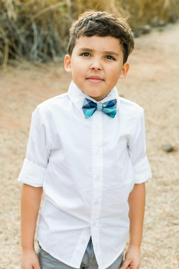 Navy & Lime Check Bow Tie (Boys and Men)