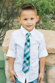Navy & Lime Check Zipper Tie (Boys and Men)