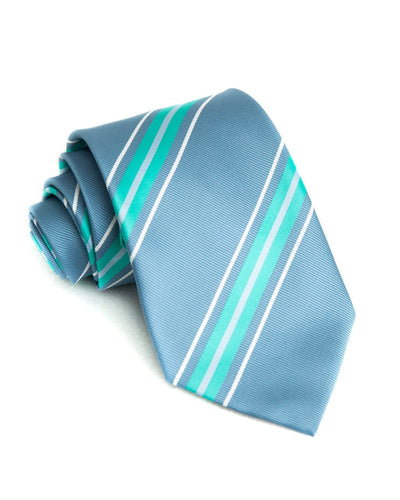 Slate & Mint Stripe Standard Necktie (Adult and Youth)