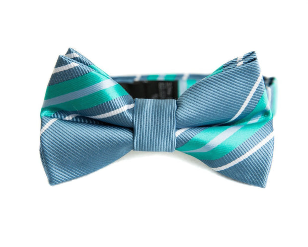 Slate & Mint Stripe Bow Tie (Boys and Men)