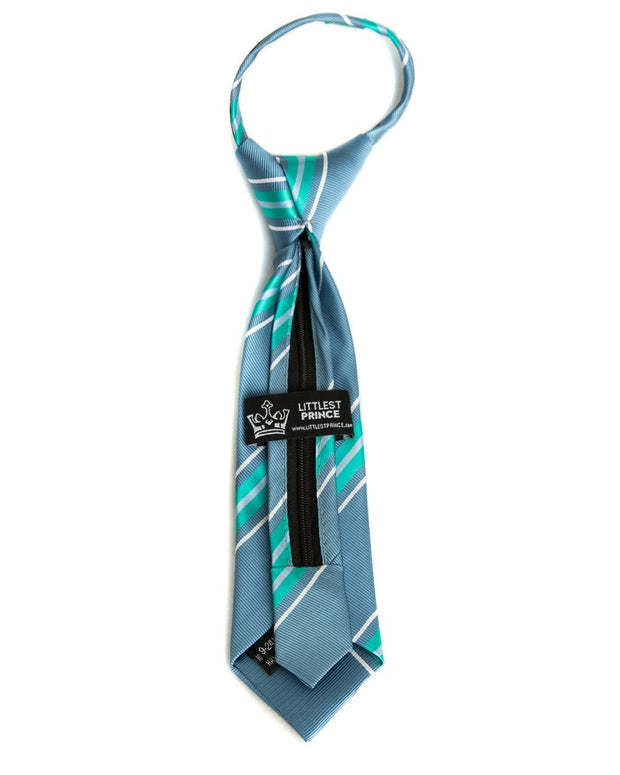Slate & Mint Stripe Zipper Tie (Boys and Men)