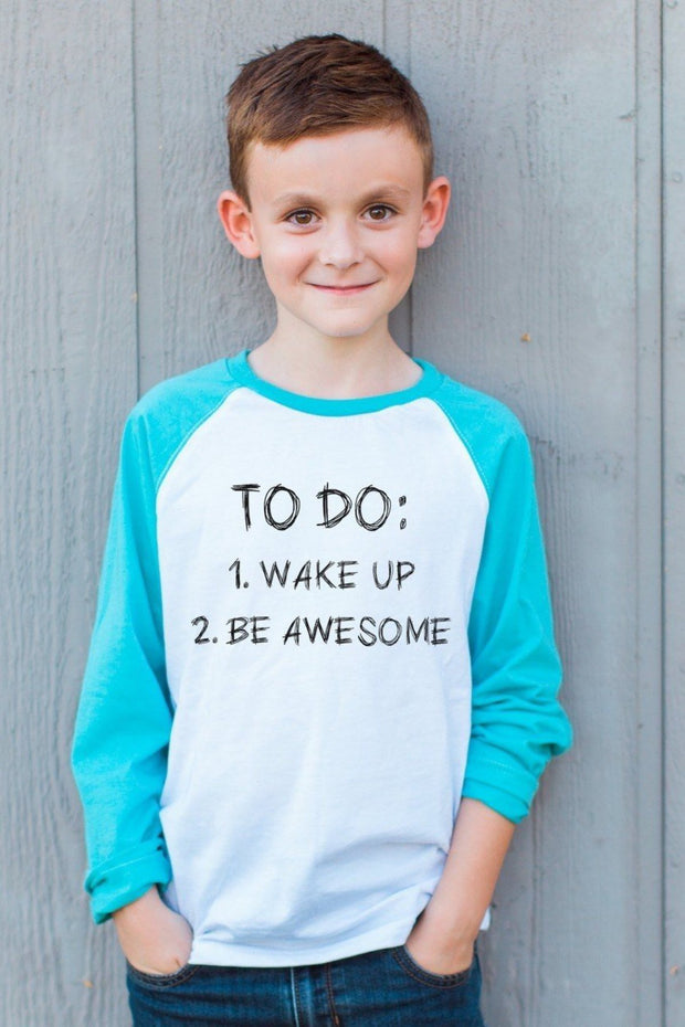 To Do List Aqua Long Sleeve Raglan Tween Tee