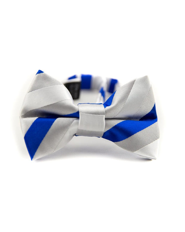 Royal and Silver Stripe Bow Tie (Boys and Men)