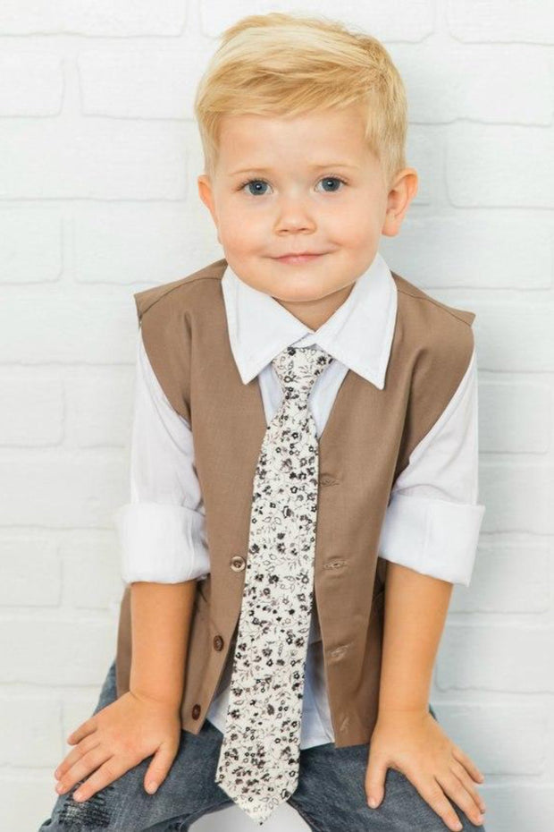 Cream and Sable Floral Zipper Tie (Boys and Men)