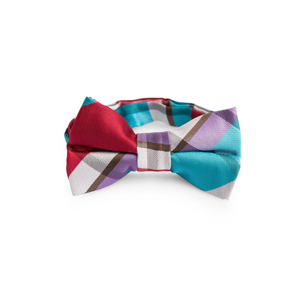Turquoise and Cherry Plaid Tie