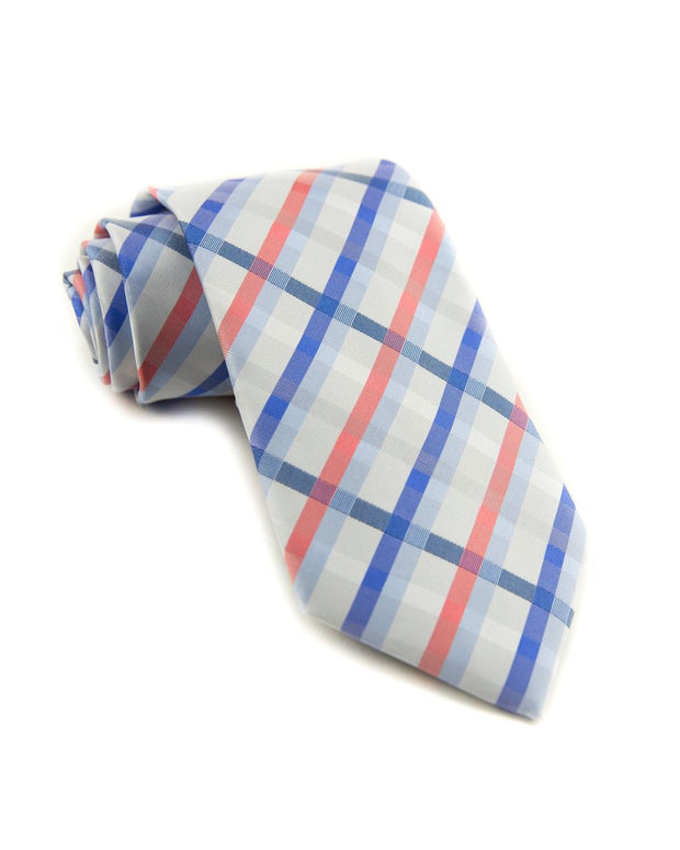 Coral and Blue Plaid Standard Necktie (Adult and Youth)