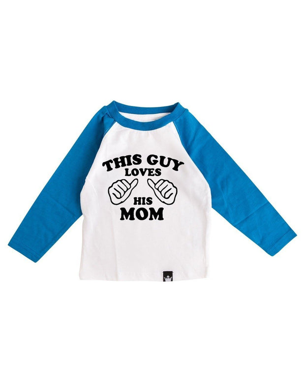 This Guy Loves His Mom Blue Raglan Tee