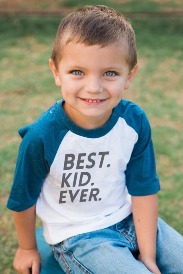Best Kid Ever Navy Half Sleeve Raglan Tee