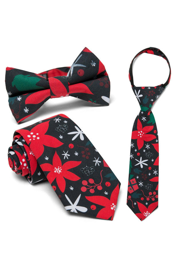 Poinsettia & Pewter Floral Tie