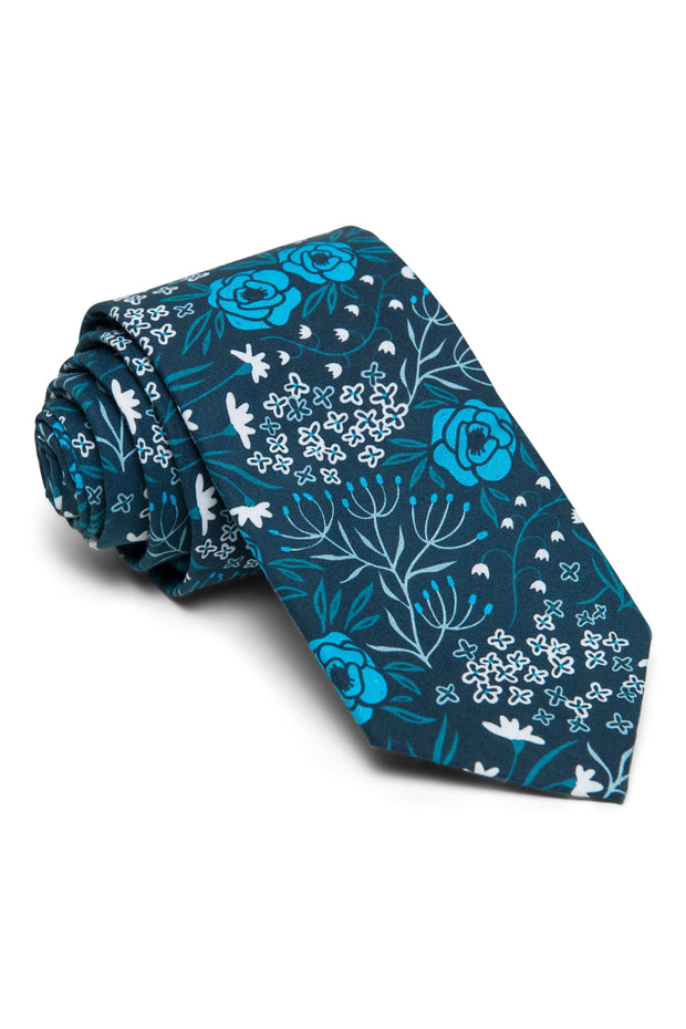 Turquoise & Navy Floral Tie