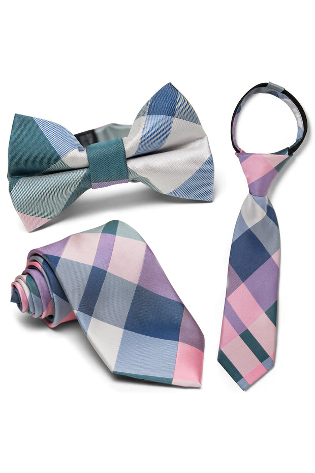 Taffy & Teal Plaid Tie