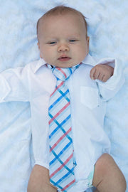 Coral and Blue Plaid Zipper Tie (Boys and Men)