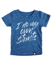 I Do My Own Stunts Navy Slub Knit Crew Neck Tween Tee