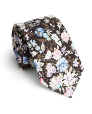 Black and Baby Blue Floral Standard Necktie (Adult and Youth)
