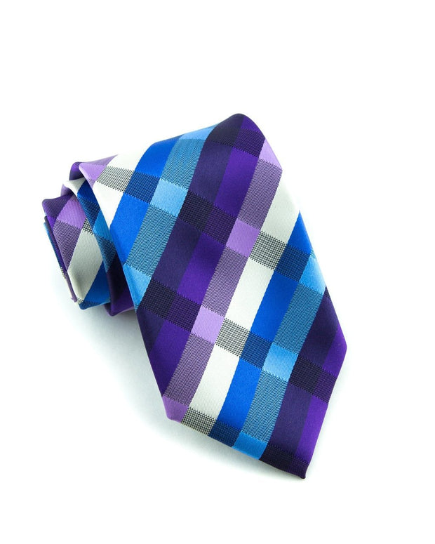 Azure and Violet Plaid Standard Necktie (Adult and Youth)