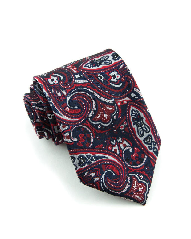 Crimson and Black Paisley Standard Necktie (Adult and Youth)