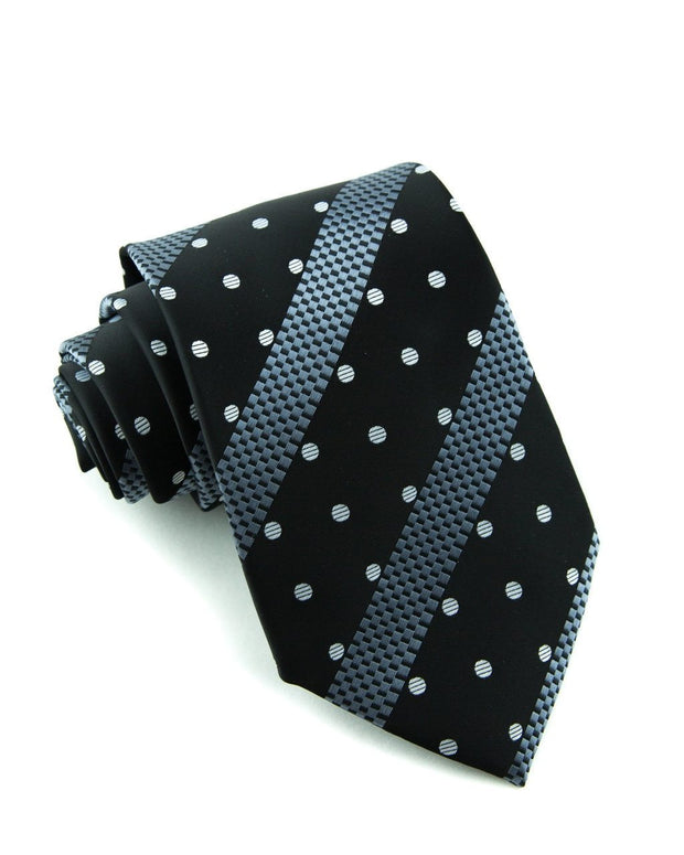 Ebony Dots & Stripes Standard Necktie (Adult and Youth)