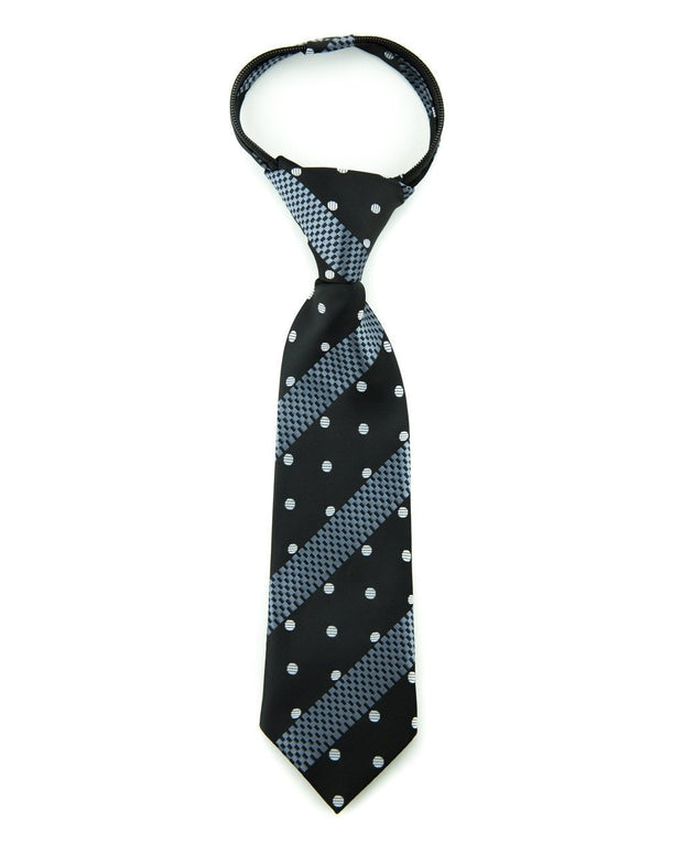 Ebony Dots & Stripes Zipper Tie (Boys and Men)