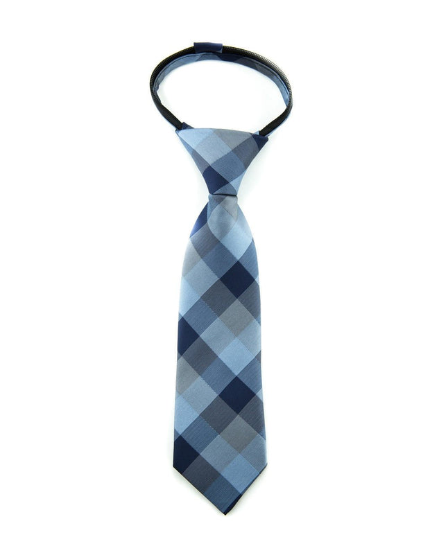 Indigo Check Zipper Tie (Boys and Men)
