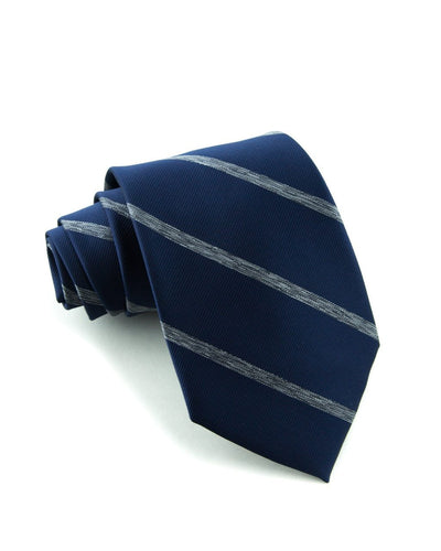 Navy and Ash Stripe Standard Necktie (Adult and Youth)