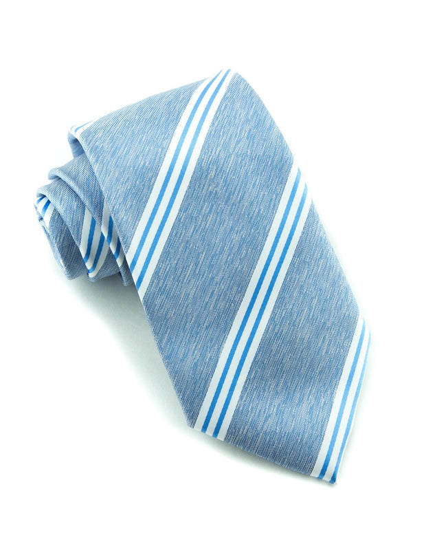 Powder Blue Stripe Standard Necktie (Adult and Youth)