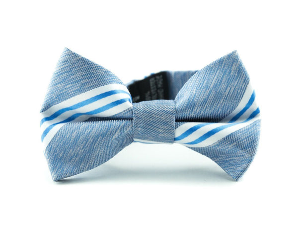 Powder Blue Stripe Bow Tie (Boys and Men)