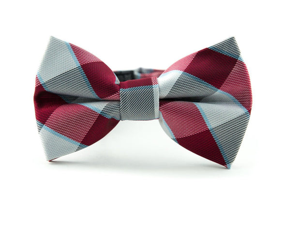 Slate and Crimson Check Bow Tie (Boys and Men)