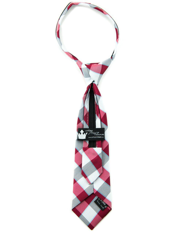 Slate and Crimson Check Zipper Tie (Boys and Men)