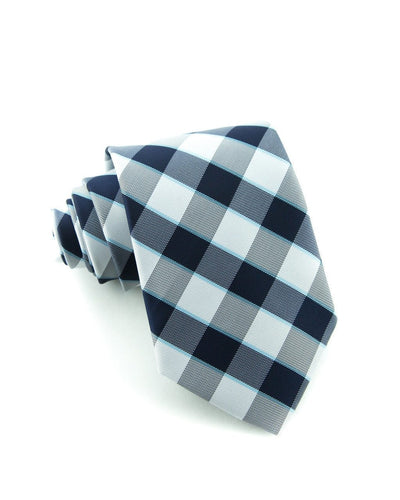 Slate and Navy Check Standard Necktie (Adult and Youth)