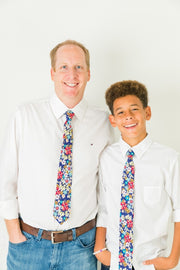 Brights & Blues Floral Standard Necktie (Adult and Youth)