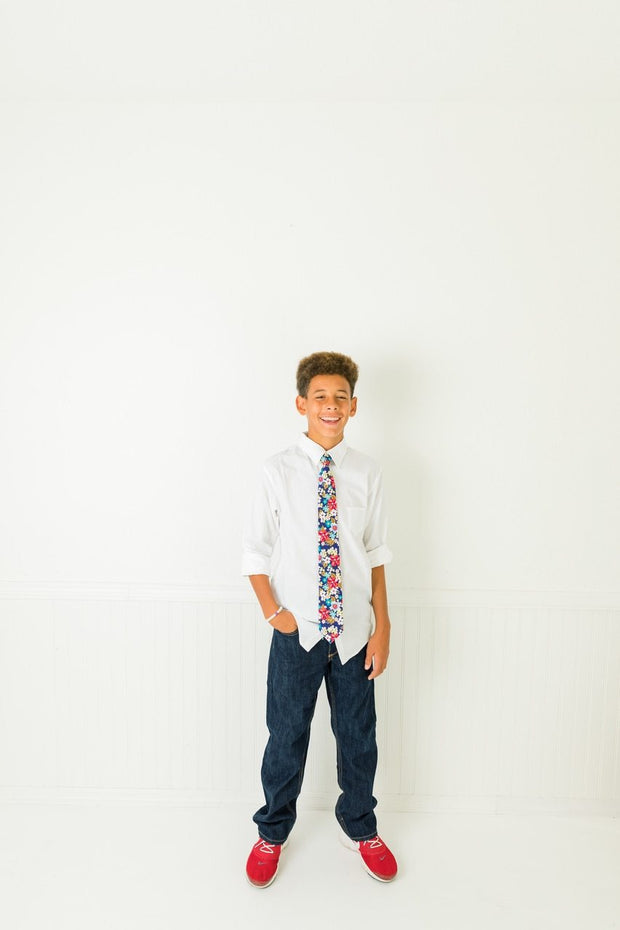 Brights & Blues Floral Zipper Tie (Boys and Men)