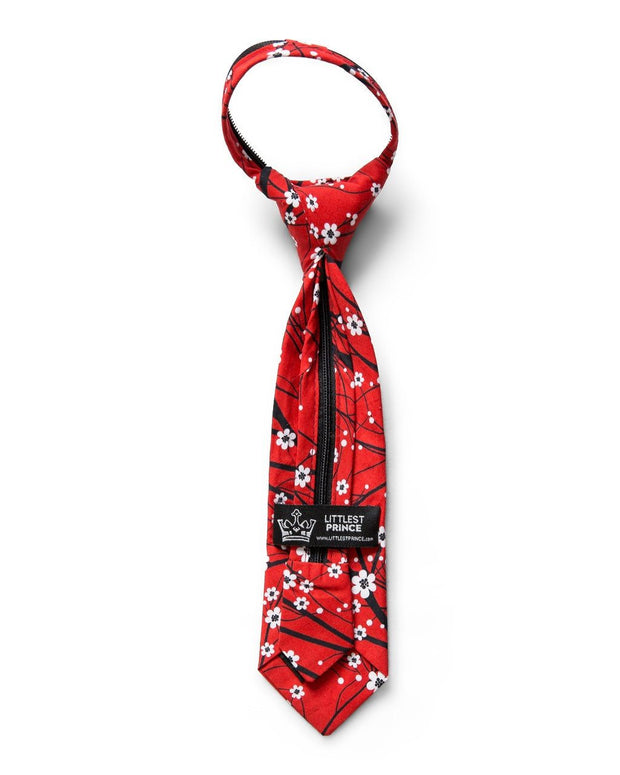 Cherry Blossom Floral Zipper Tie (Boys and Men)