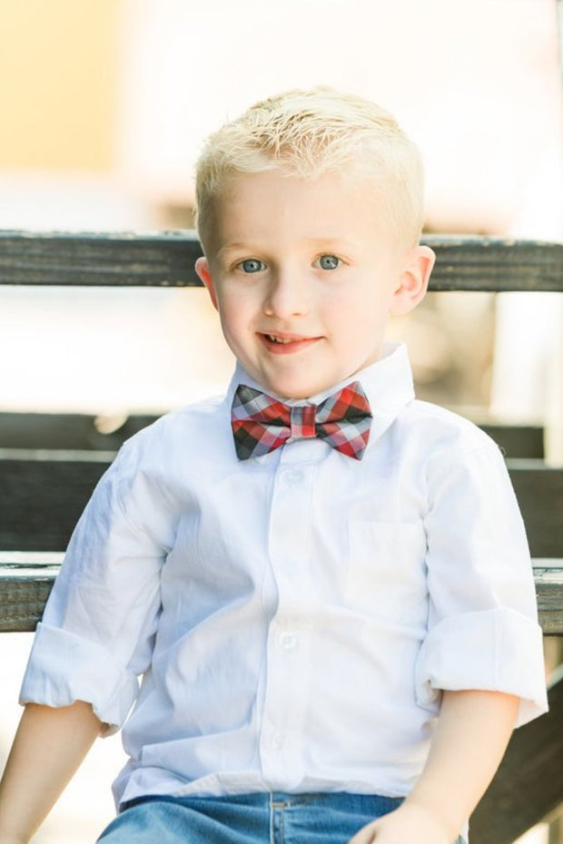 Charcoal & Crimson Check Bow Tie (Boys and Men)