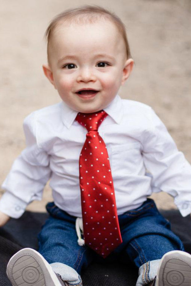Crimson & White Dots Zipper Tie (Boys and Men)