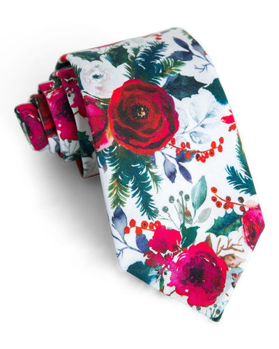 Evergreen & Rose Floral Standard Necktie (Adult and Youth)