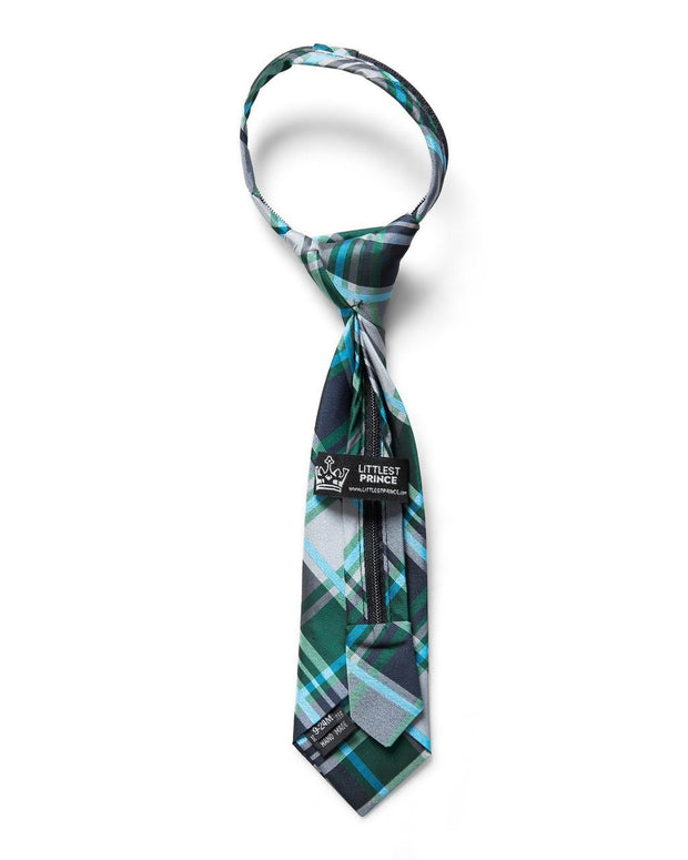 Forest & Navy Plaid Zipper Tie (Boys and Men)