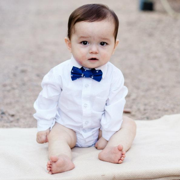 Indigo & White Dots Bow Tie (Boys and Men)