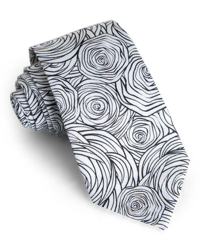 Monochrome Rose Floral Standard Necktie (Adult and Youth)