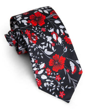 Onyx & Crimson Floral Standard Necktie (Adult and Youth)