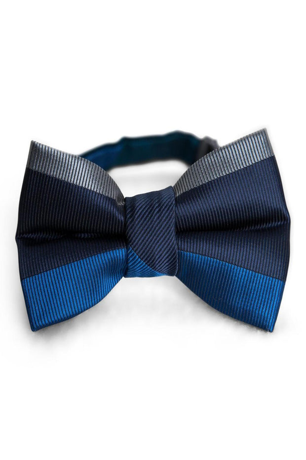 Oxford & Ocean Horizontal Stripe Bow Tie (Boys and Men)