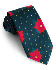 Pine & Poinsettia Floral Standard Necktie (Adult and Youth)