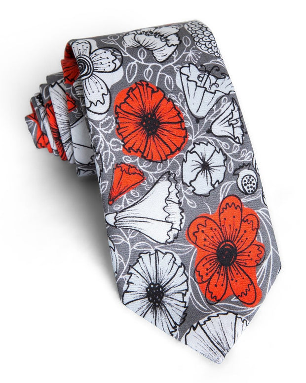 Peach & Pewter Floral Standard Necktie (Adult and Youth)