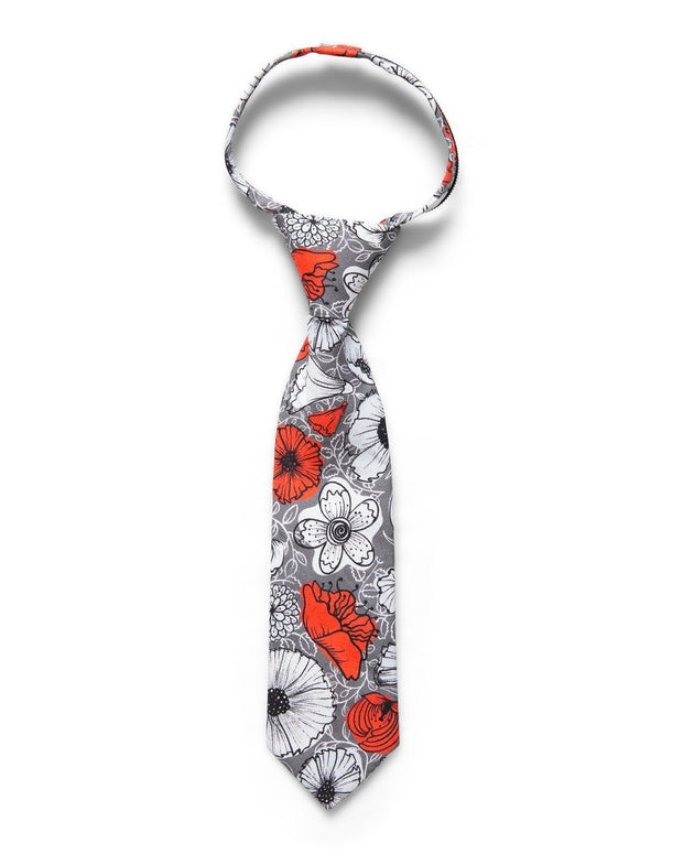 Peach & Pewter Floral Zipper Tie (Boys and Men)