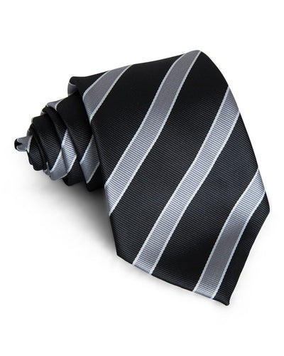 Stone & Black Stripe Standard Necktie (Adult and Youth)