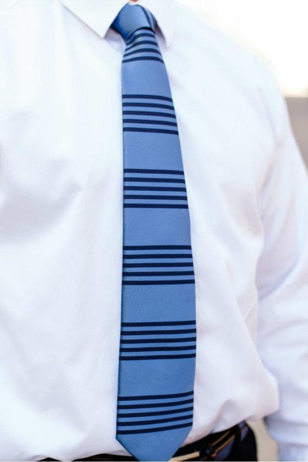 Silver Lake & Black Stripe Standard Necktie (Adult and Youth)