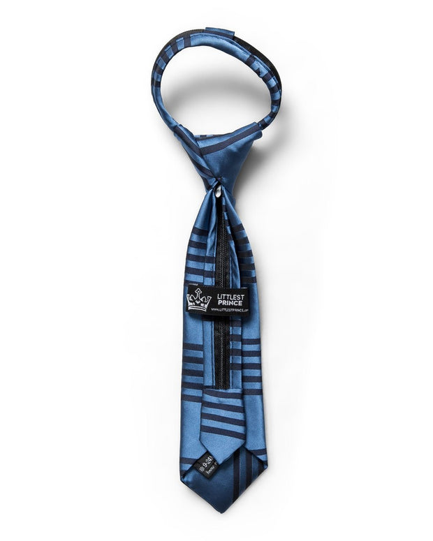 Silver Lake & Black Stripe Zipper Tie (Boys and Men)