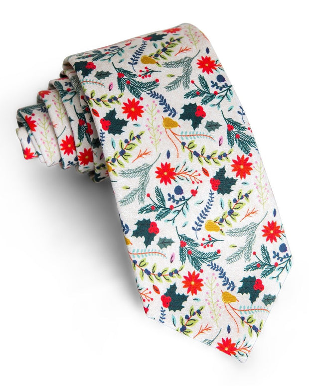Winter Berry Floral Standard Necktie (Adult and Youth)