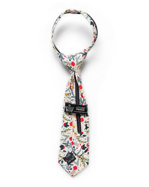 Winter Berry Floral Zipper Tie (Boys and Men)