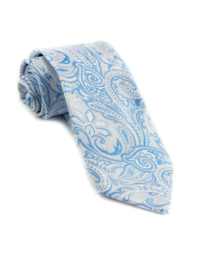 Silver and Sapphire Paisley Standard Necktie (Adult and Youth)
